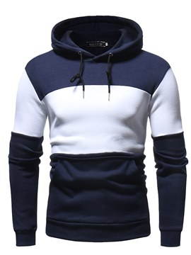Ericdress Color Block Slim Fitted Pullover Mens Fleece Hoodies