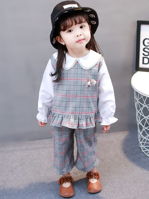 Ericdress Plaid Ruffles Pullover Shirts & Pants Baby Girl's Outfits