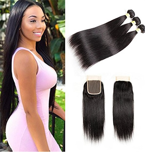 Ericdress Indian Virgin Human Hair Bundles Straight Hair Extensions with 4*4 Lace Closure