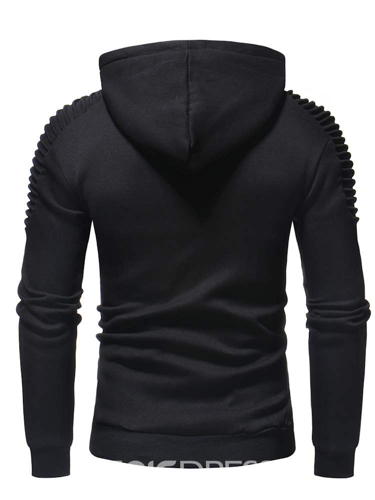 Ericdress Plain Sleeve Pleated Pullover Slim Mens Casual Hoodies