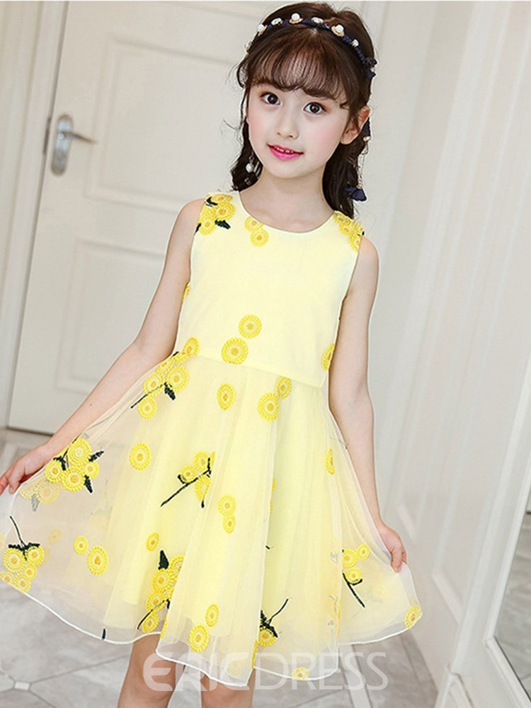 Ericdress Floral Embroidery A-Line Mesh Girl's Casual Dress