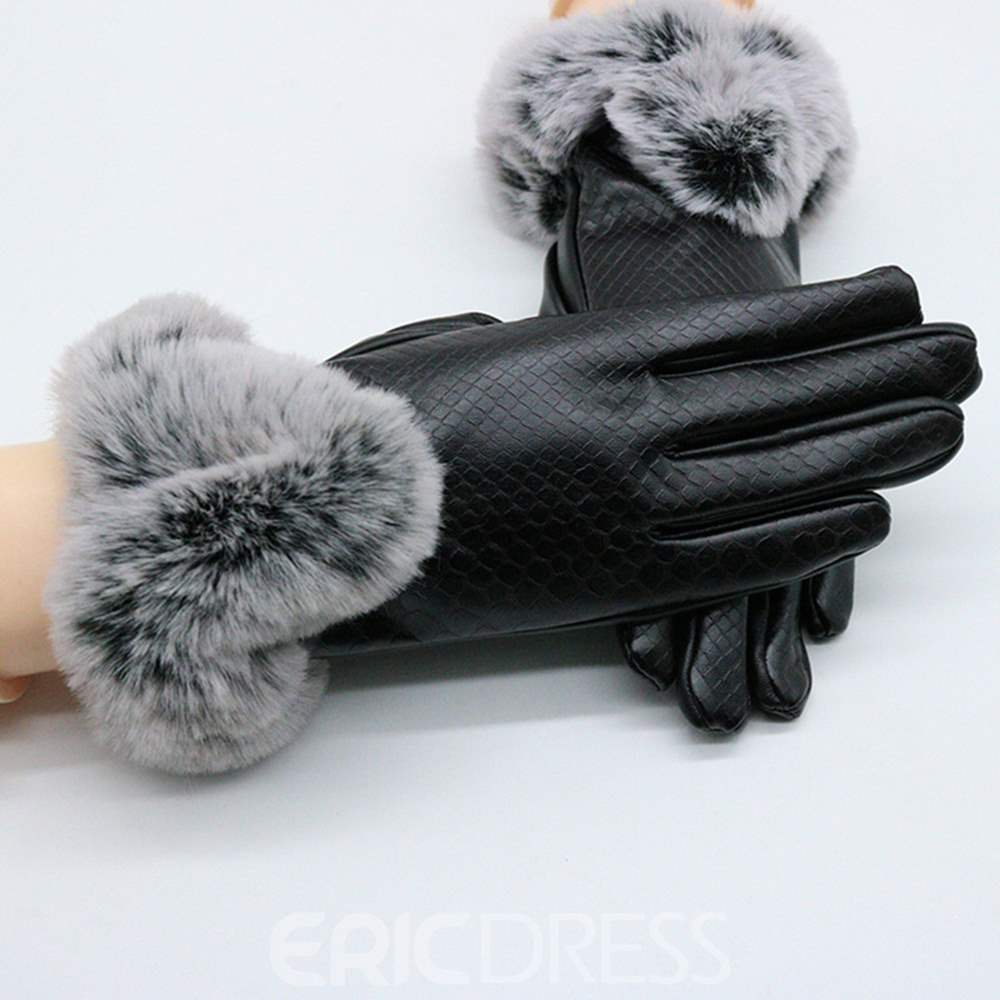 Ericdress Fluffy Cony Hair Leather Windproof Lady Gloves