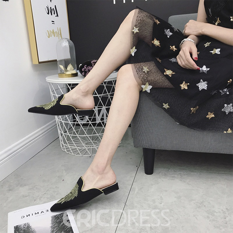 Ericdress Embroidery Slip-On Black Flat Mules