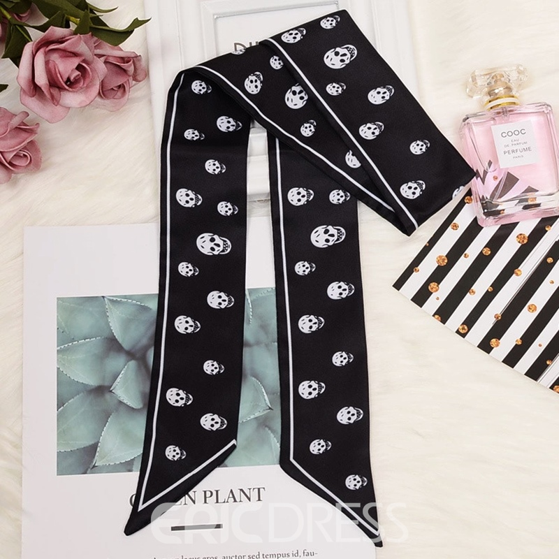 Ericdress Skull Black/White Head Bag Arm Silk Scarf