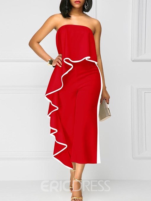 Ericdress Off Shoulder Pleated Cropped Women's Jumpsuit