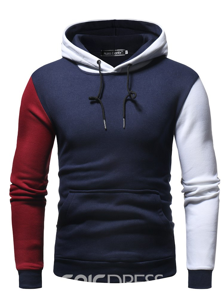Ericdress Patchwork Hooded Lace Up Slim Mens Casual Hoodies