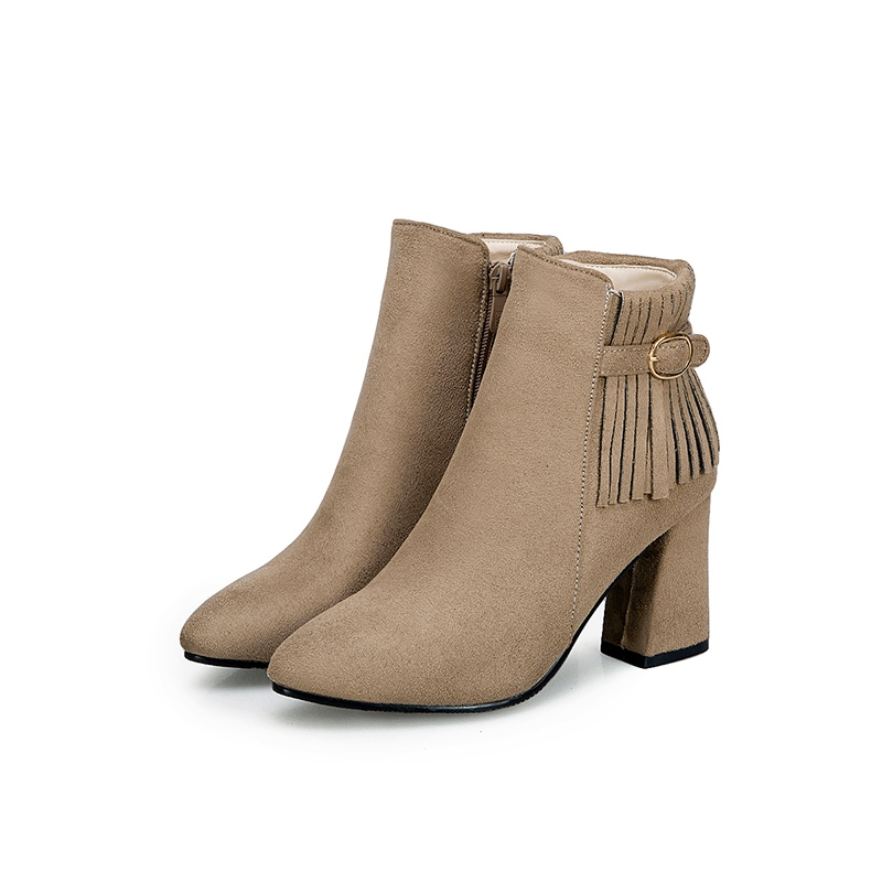 Ericdres Fringe Buckle Pointed Toe Chunky Heel Ankle Boots