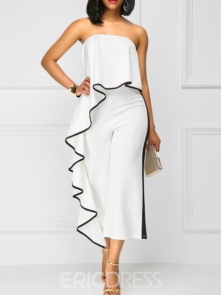 Ericdress Off Shoulder Pleated Cropped Women's Jumpsuits