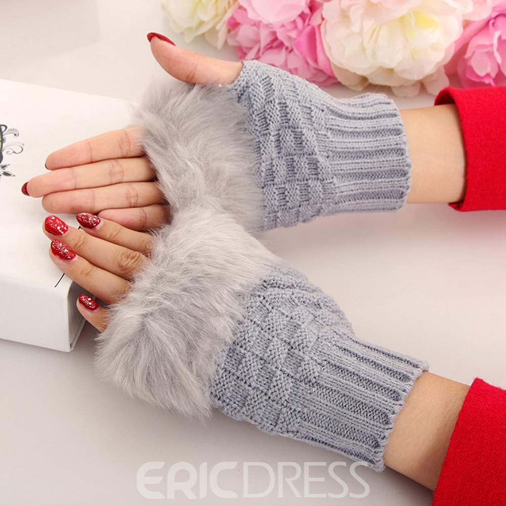 Ericdress Cony Hair Half-Finger Knit Mitt Gloves