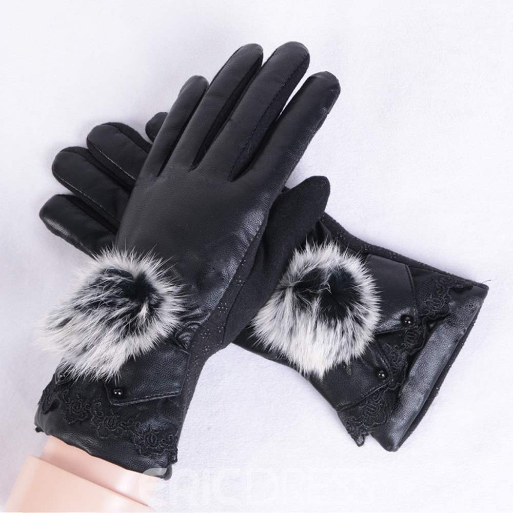 Ericdress Leather Fluffy Lady Gloves
