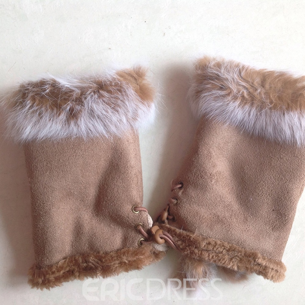 Ericdress Cony Hair Half-Finger Polar Fleece Lady Gloves