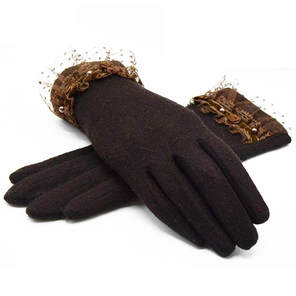 Ericdress Winter Keep Warm Flower Lace Lady Gloves