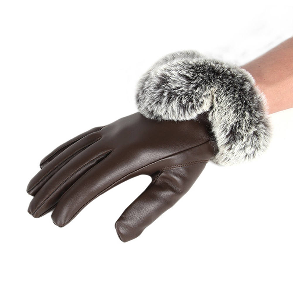 Ericdress Leather Cony Hair Winter Windproof Lady Gloves
