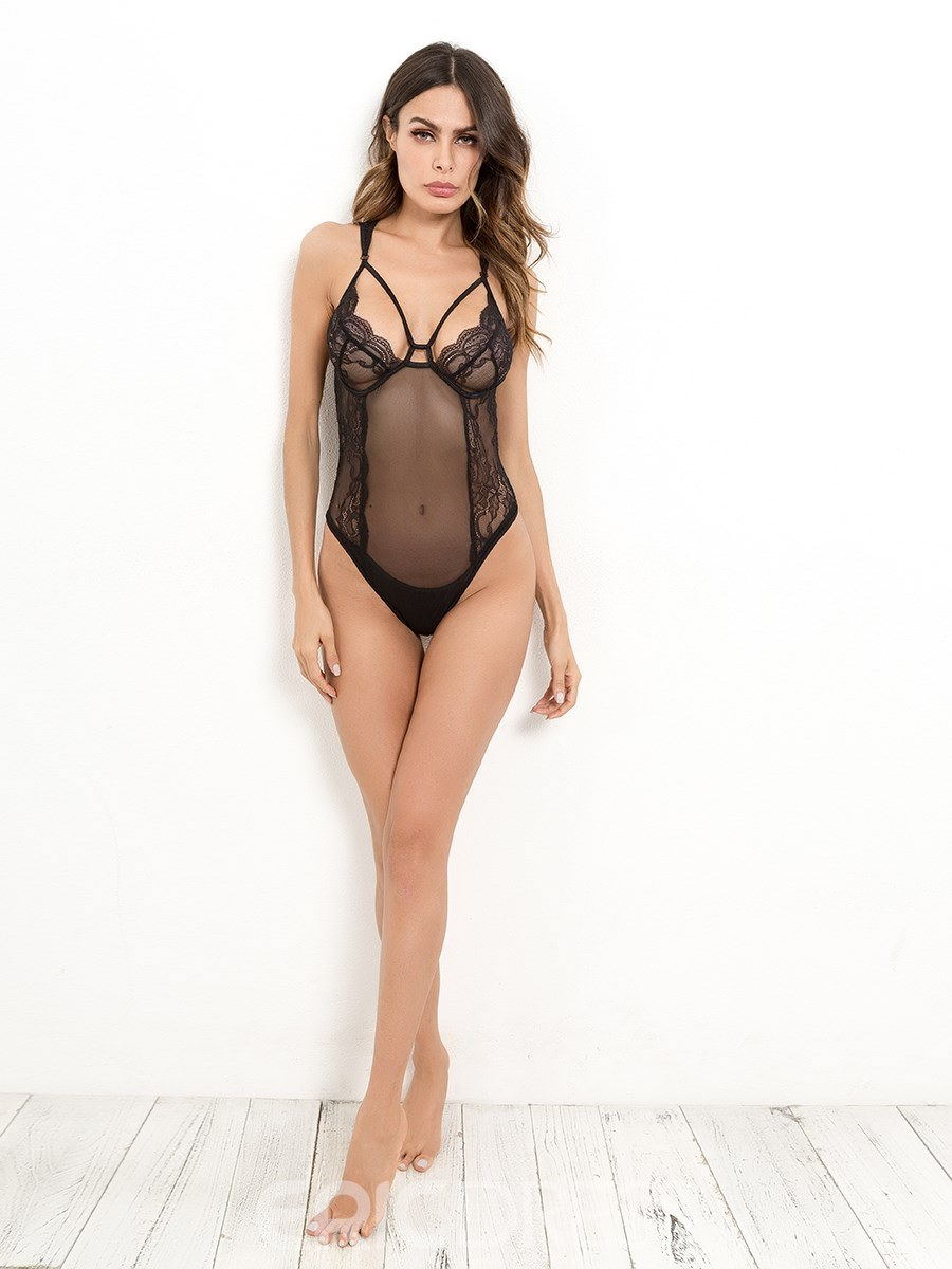Ericdress Spaghetti Strap Backless See-Through Teddy Bodysuit