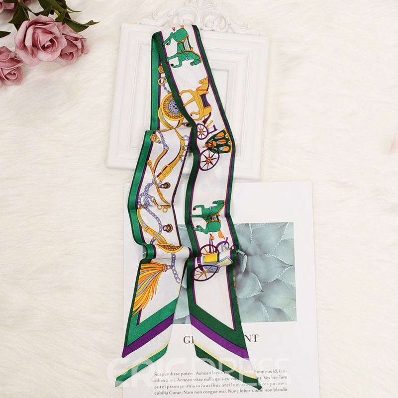 Ericdress Pumpkin Carriage Printing Silk Head Bag Scarf For Women