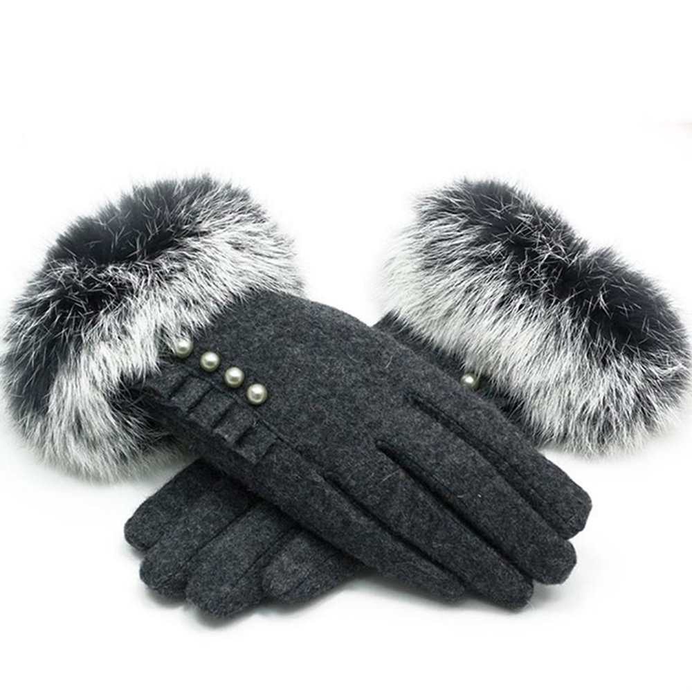 Ericdress Elegant Cashmere Pearl Lady Gloves
