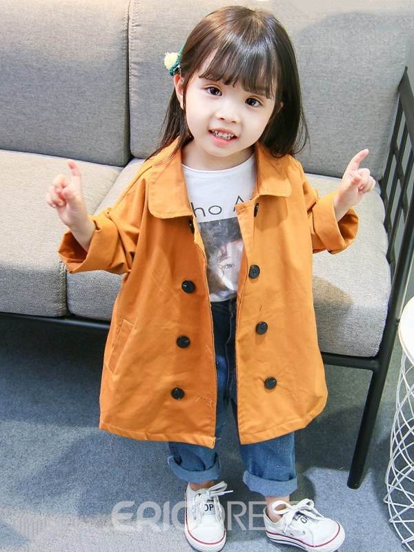 Ericdress Plain Double-Breasted Button Mid-Length Girl's Outerwears Coats