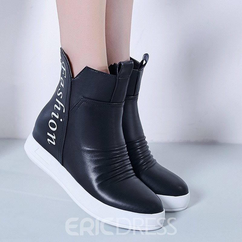 Ericdress Platform Print Pleated Letter Short Floss Ankle Boots