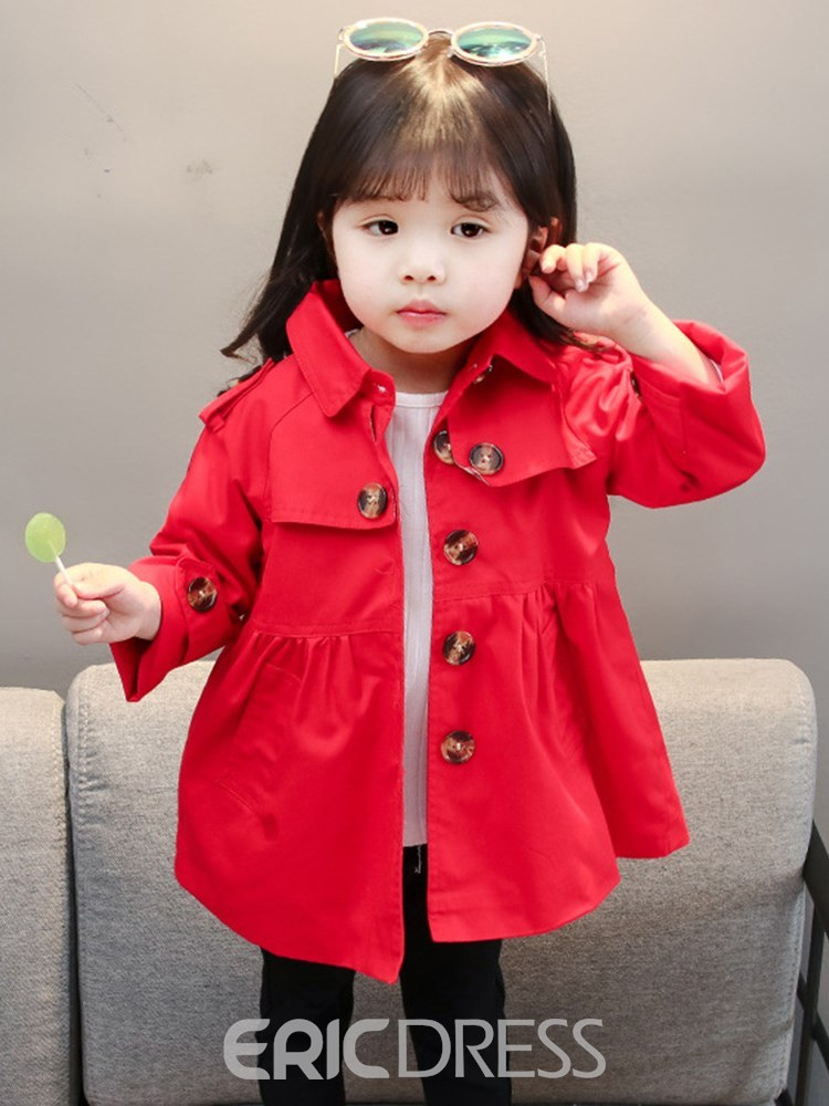 Ericdress Plain Epaulet Button Lapel Baby Girl's Outerwears Coats
