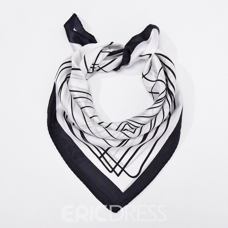 Ericdress Mulberry Silk Black White Line Scarf For Women