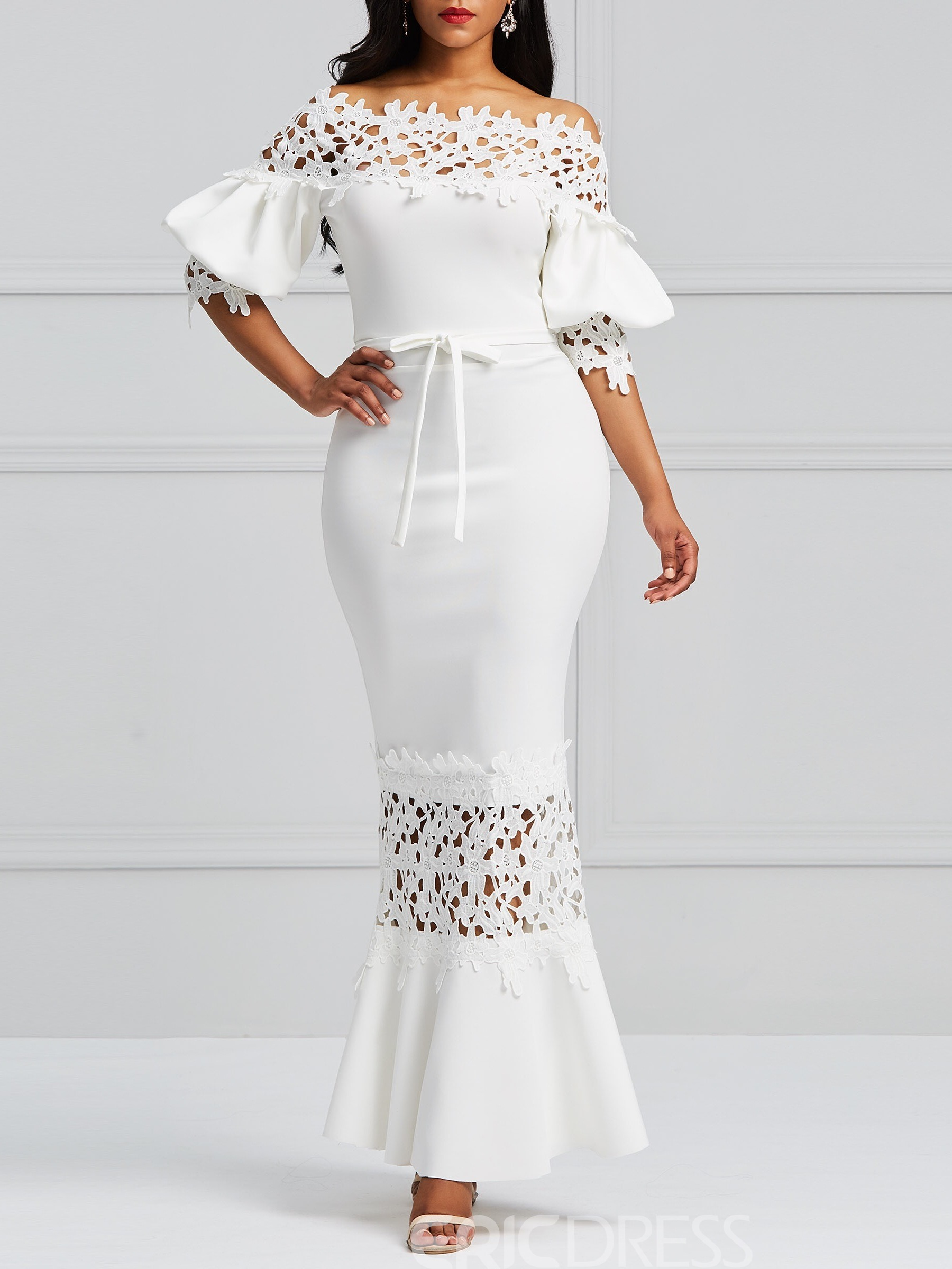 3bbbc88200c0 Ericdress White Slash Lantern Sleeve Neck Lace Maxi Dress 13340105 ...