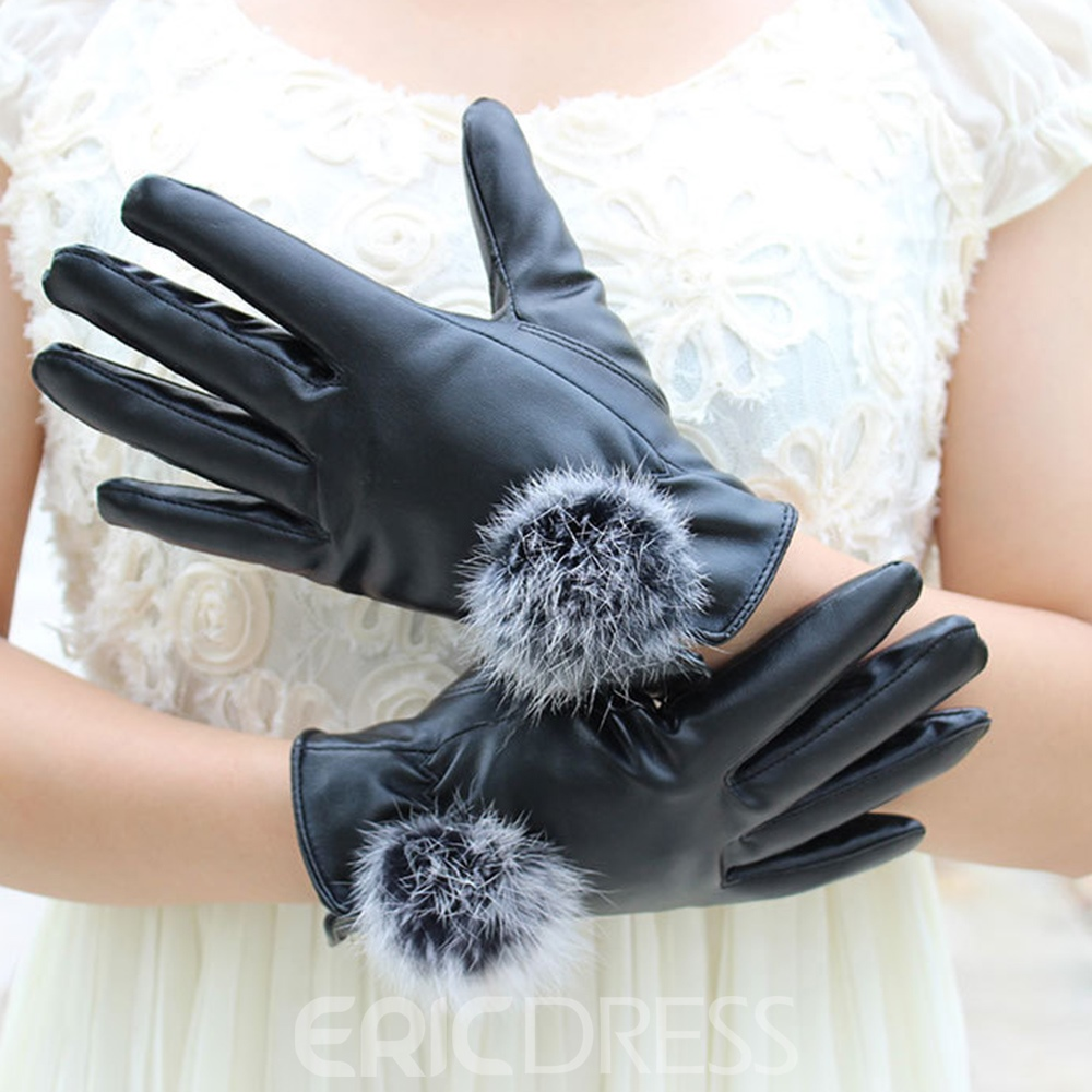 Ericdress Leather Pompon Lady Gloves