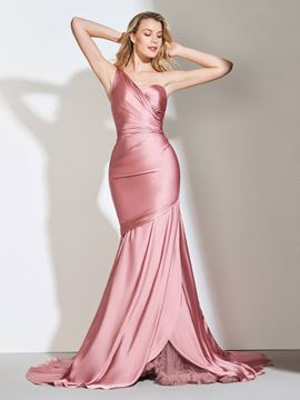 Ericdress One Shoulder Pleats Mermaid Evening Dress