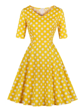 Ericdress Knee-Length Polka Dots A-Line Women's Dress