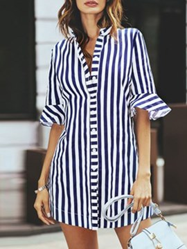 Ericdress Stripe Notch-V Single-Breasted Short Sleeve Womens Top