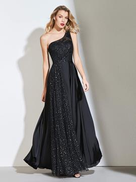 Ericdress A Line One Shoulder Black Prom Dress