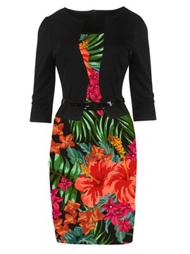 Ericdress Bodycon Floral Office Lady Women's Dress