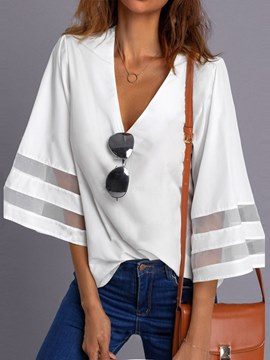 Ericdress Patchwork V-Neck Casual 3/4 Length Sleeves Womens Top