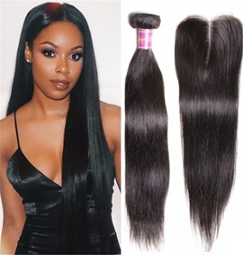 Ericdress Peruvian Human Hair Extensions Virgin Hair Bundles Straight + Lace Closure Hair