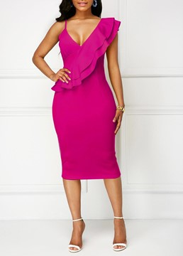 Ericdress Ruffles Bodycon Knee-Length Women's Dress