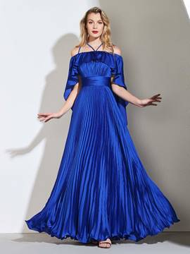 Ericdress A Line Off The Shoulder Pleats Long Prom Dress