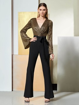 Ericdress Long Sleeve V Neck Contrast Color Prom Jumpsuit