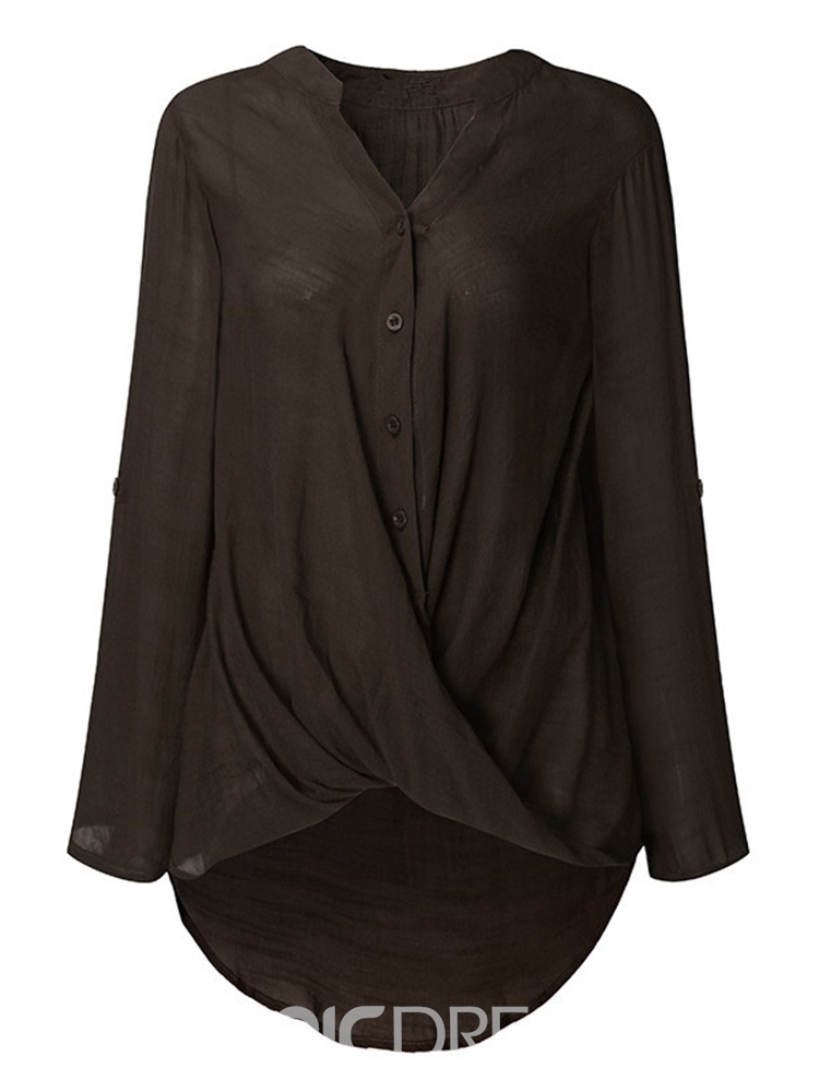 Ericdress Mid-Length Single-Breasted Plain Womens Shirt
