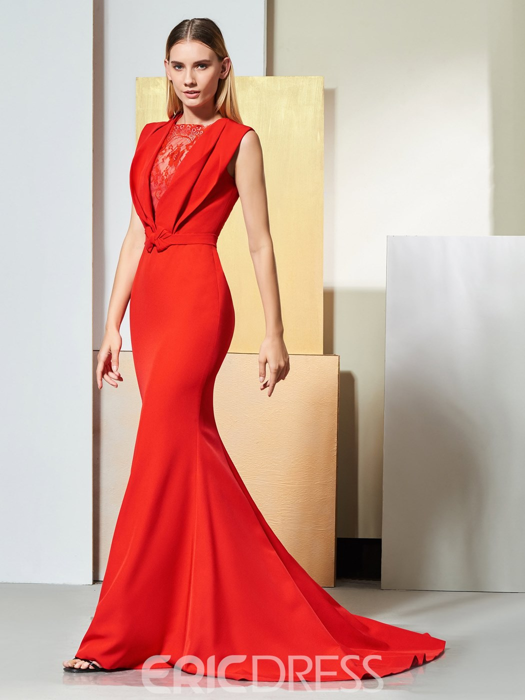 Ericdress Elegant Red Mermaid Evening Dress With Sweep Train