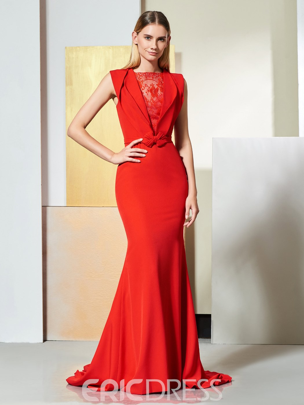 Ericdress Elegant Red Mermaid Evening Dress With Sweep Train ...