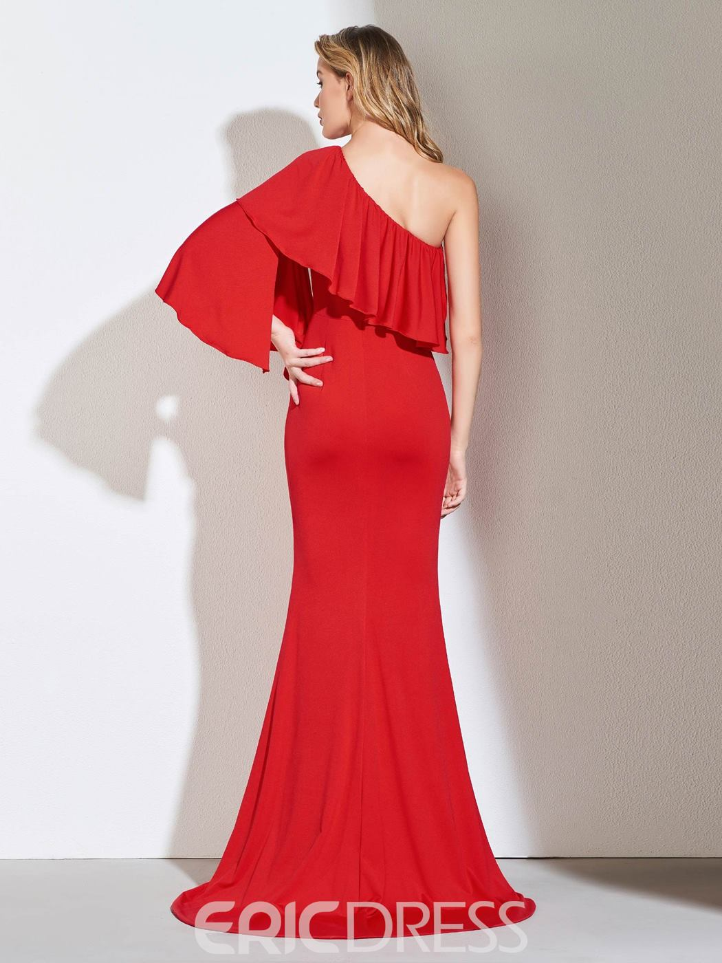 Ericdress One Shoulder Red Mermaid Evening Dress