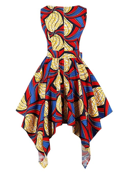 Ericdress Asymmetrical Print Bowknot Women's Dress