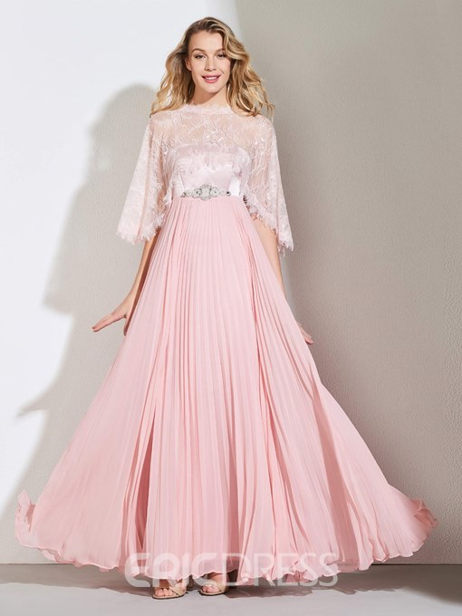 Ericdress A Line Strapless Pleats Beaded Long Evening Dress With Lace Cape