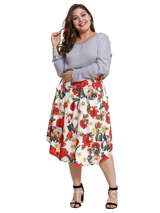 Ericdress Pus Size Print Floral Mid-Calf Travel Look Skirt