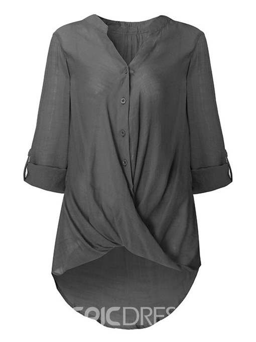 Ericdress Mid-Length Single-Breasted Plain Plus Size Womens Shirt