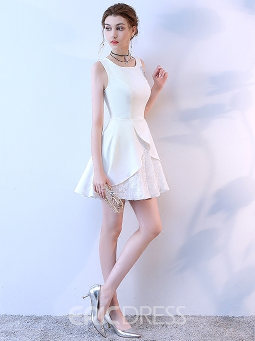 Ericdress A-Line Lace Square Sleeveless Cocktail Dress