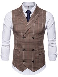 Ericdress Plaid Double Breasted Lapel Mens Casual Dress Vest фото