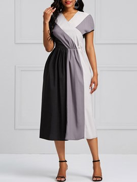 Ericdress A-Line Color Block Mid-Calf Women's Dress