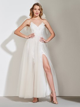 Ericdress Tulle A Line Beach Wedding Dress
