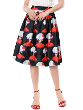 Ericdress A-Line Pleated Print Women's Skirt