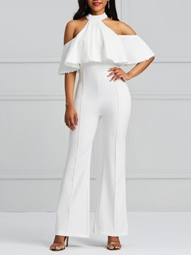 Ericdress Ruffles Bellbottoms Office Lady Women's Jumpsuits